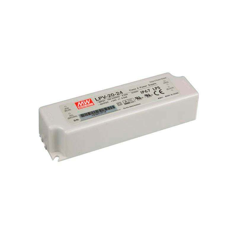 Adaptador de corriente Mean Well LPV-20-24, IP67, DC24V/20W/0.84A